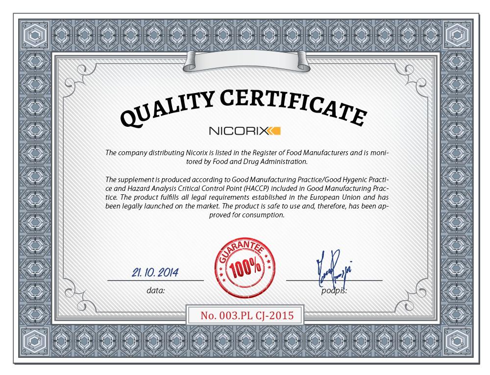 nicorix certyfikat